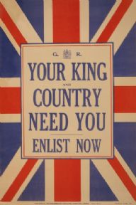 Vintage British War Poster You're King and Country Need You, Enlist Now.